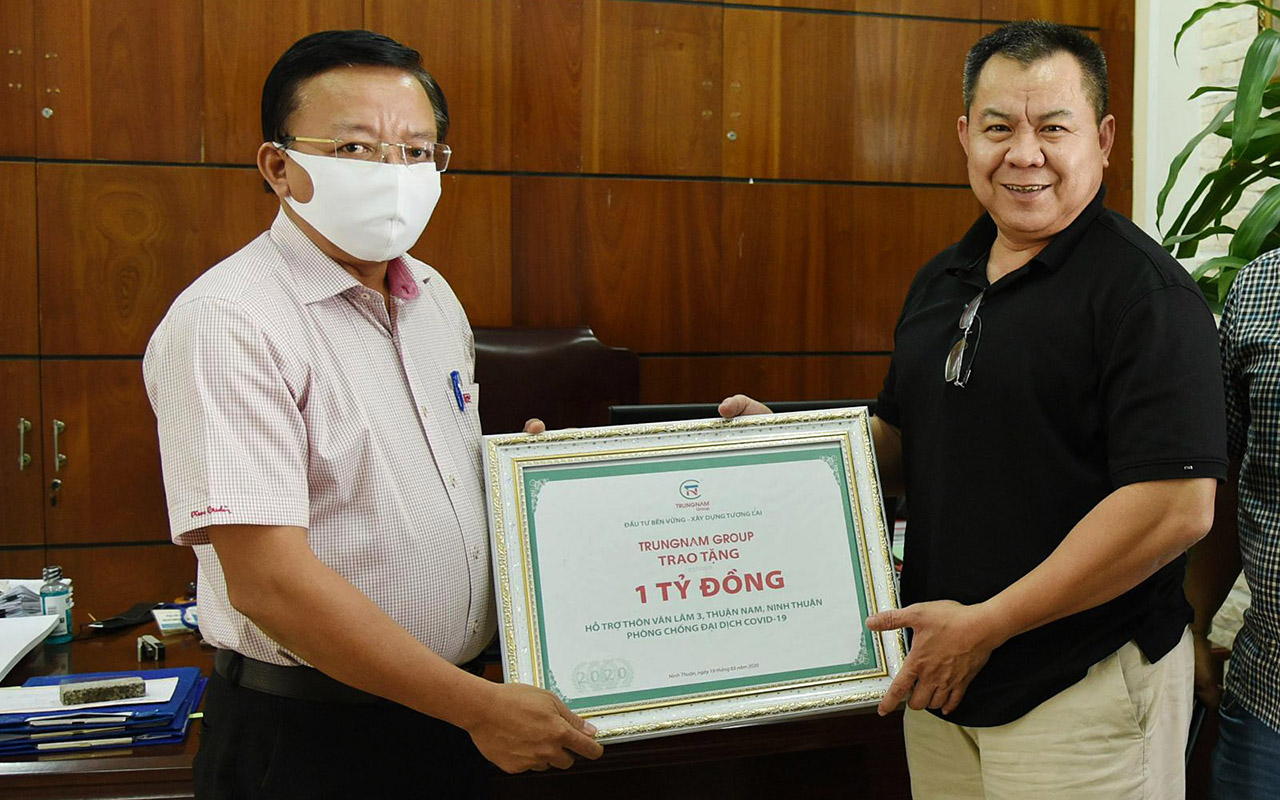 TRUNGNAM GROUP GIVE 1 BILLION VND TO NINH THUAN PROVINCE FOR COVID-19 PREVENTION AND PROTECTION